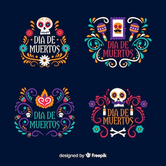 Flat design of day of the dead label