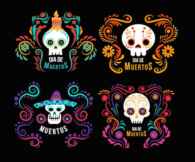 Flat design day of the dead labels