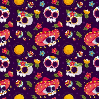 Flat design day of the dead pattern template