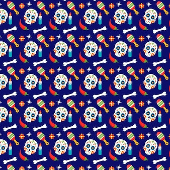 Flat design day of the dead pattern