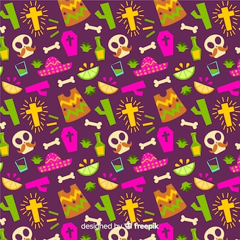 Flat design day of the dead seamless pattern