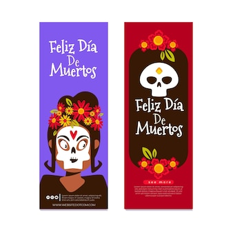 Flat design day of the dead vertical banners