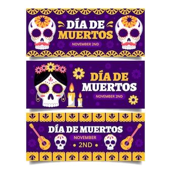 Плоский дизайн день мертвых баннеров