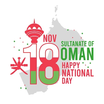 Flat design day of oman celebration