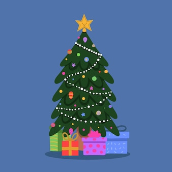 Flat design decorated christmas tree