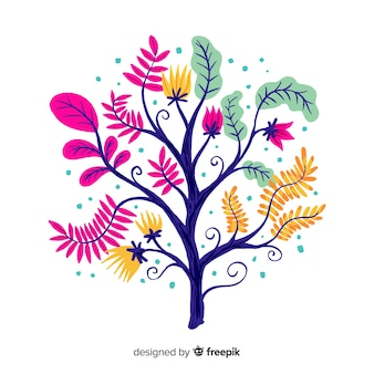 Flat design decorative floral branch