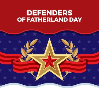 Flat design defender of the fatherland day and star