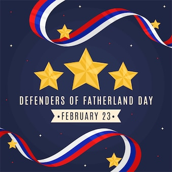 Flat design defender of the fatherland day and wavy flag