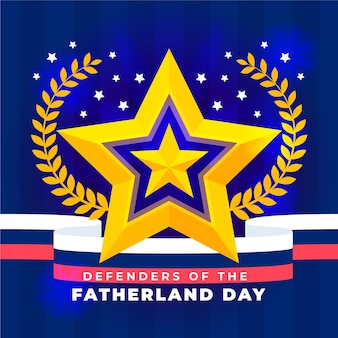 Flat design defenders of fatherland day golden star
