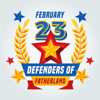 Flat design defenders of fatherland day golden wheat