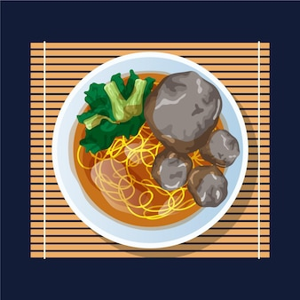 Flat design delicious bakso in a bowl