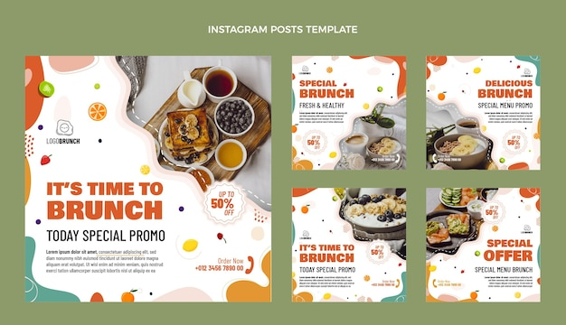 Плоский дизайн вкусных бранчей постов в instagram