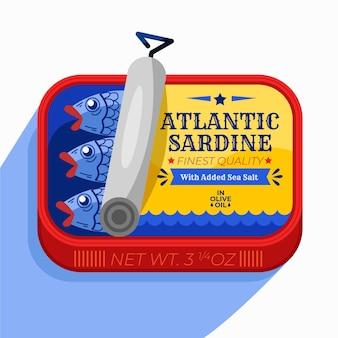 Illustrazione deliziosa di sardine in scatola dal design piatto