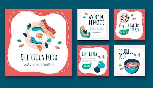 Вкусная еда в instagram посты в плоском дизайне