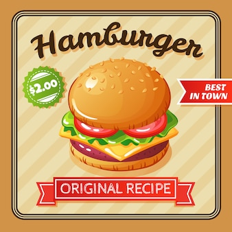 Flat design delicious hamburger with cheese and vegetables illustration
