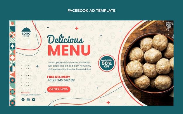 Плоский дизайн вкусного меню facebook шаблона