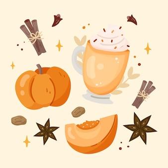 Flat design delicious pumpkin spice illustration