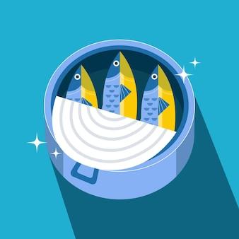Illustrazione deliziosa di sardine dal design piatto