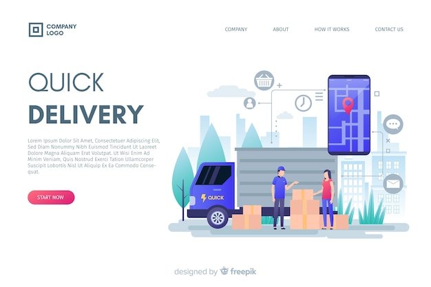 Flat design delivery concept for landing pages