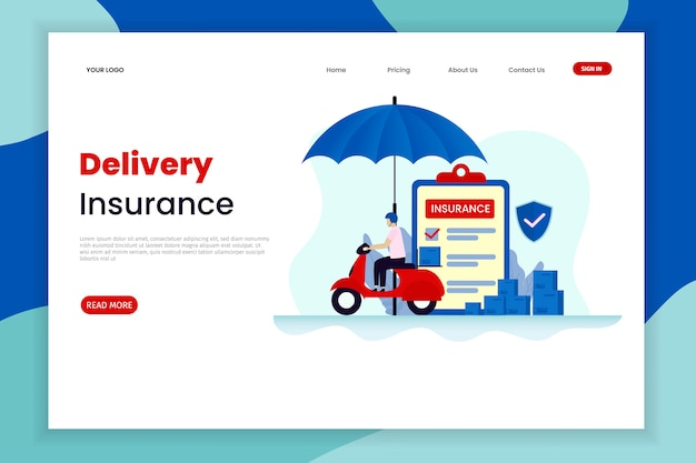 Flat design delivery insurance landing page template