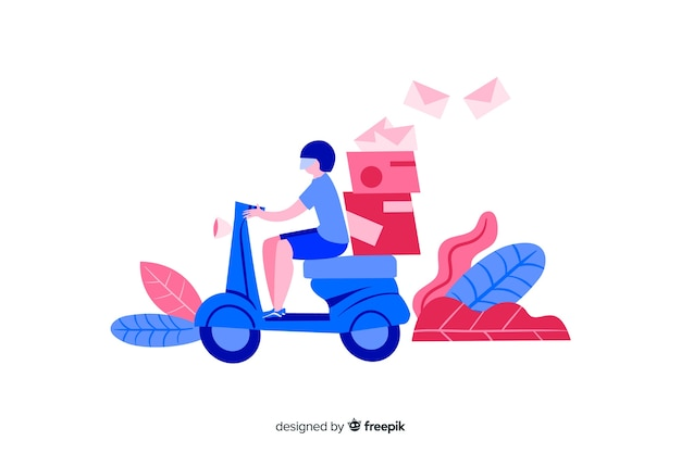 Flat design delivery man for landing pages