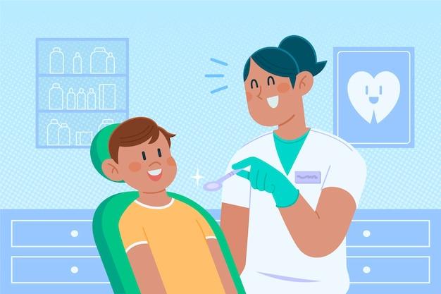 Плоский дизайн иллюстрации концепции стоматологической помощи