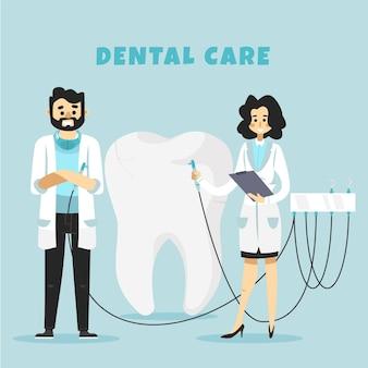 치과 의사와 평면 디자인 치과 치료 개념