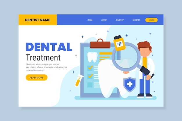 Плоский дизайн веб-шаблона стоматологической помощи
