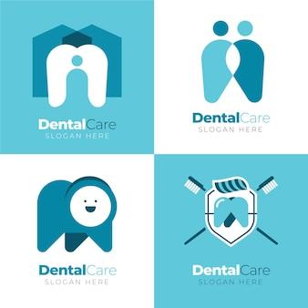 Коллекция стоматологических логотипов в плоском дизайне