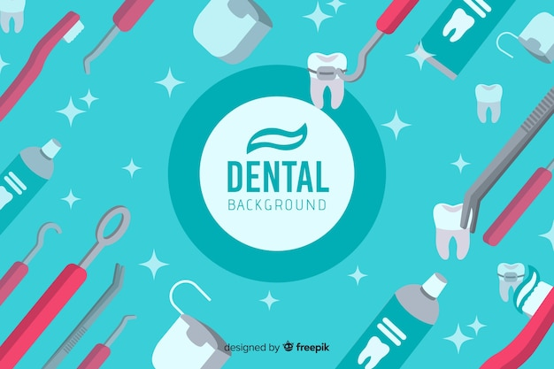 Flat design dentist background