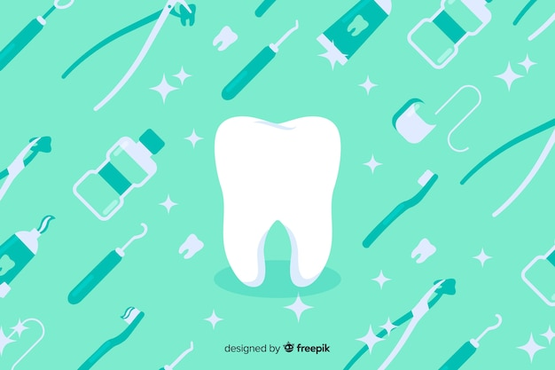Flat design dentist blue background
