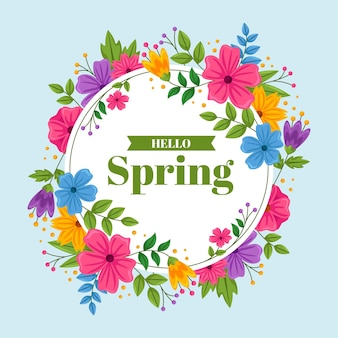 Flat design detailed spring floral frame