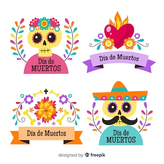 Flat design of dia de los muertos badge collection