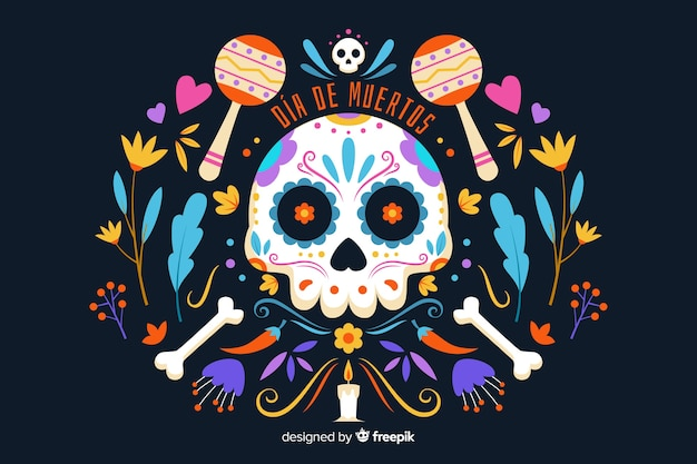 Flat design of dia de muertos background