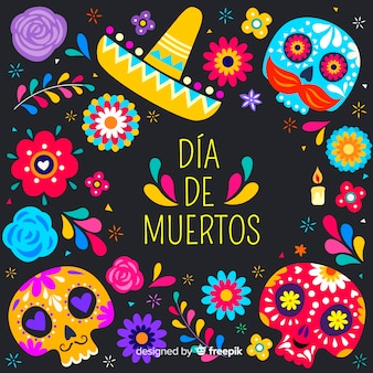 Flat design día de muertos background