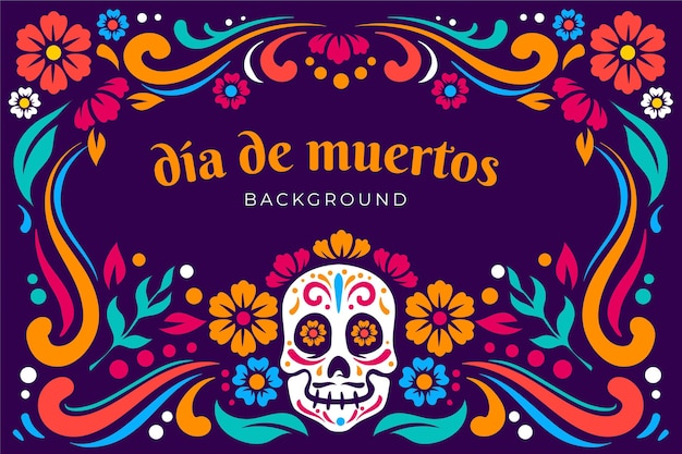 Flat design dia de muertos background