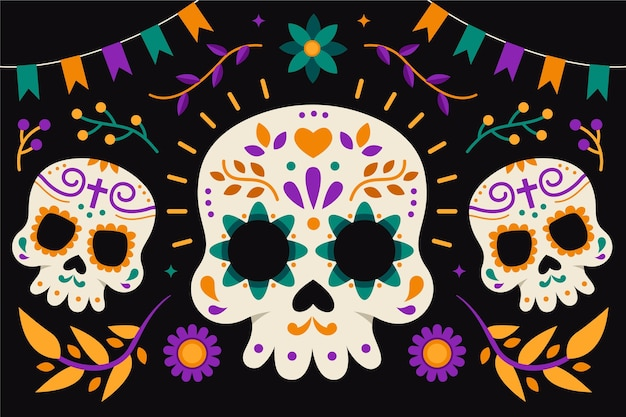 Flat design dia de muertos background