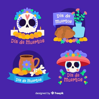 Flat design of dia de muertos badge  collection