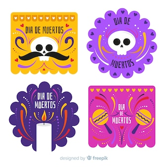 Flat design día de muertos badge collection