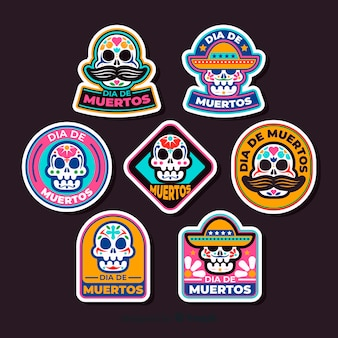Flat design día de muertos badge collection