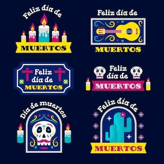 Плоский дизайн коллекции значков dia de muertos