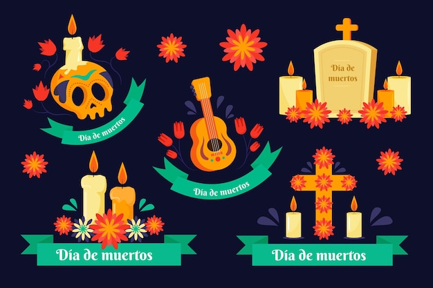 Flat design dia de muertos badge collection