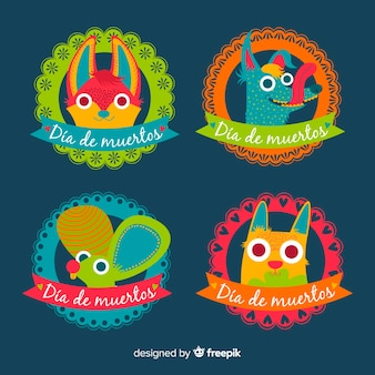 Flat design dia de muertos badge set