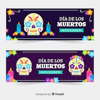 Плоский дизайн шаблона баннеров de muertos