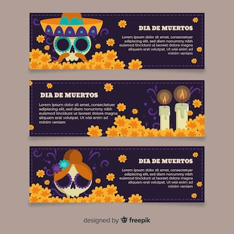 Flat design día de muertos banners template