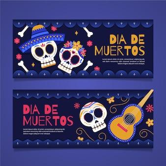 Плоский дизайн шаблона баннеров dia de muertos