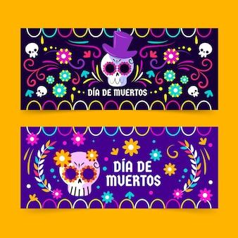 Modello di banner design piatto dia de muertos