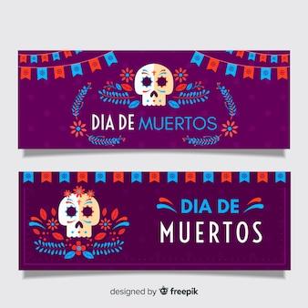 Flat design of dia de muertos banners