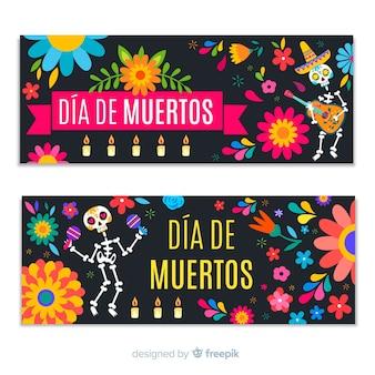 Flat design día de muertos banners