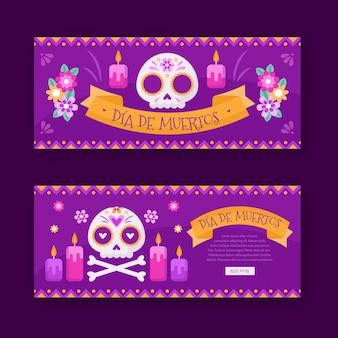 Плоский дизайн баннеров dia de muertos